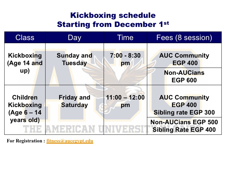 December kickboxing schedule